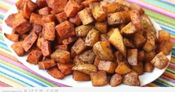 مكعبات البطاطس الحارة بالشيدر