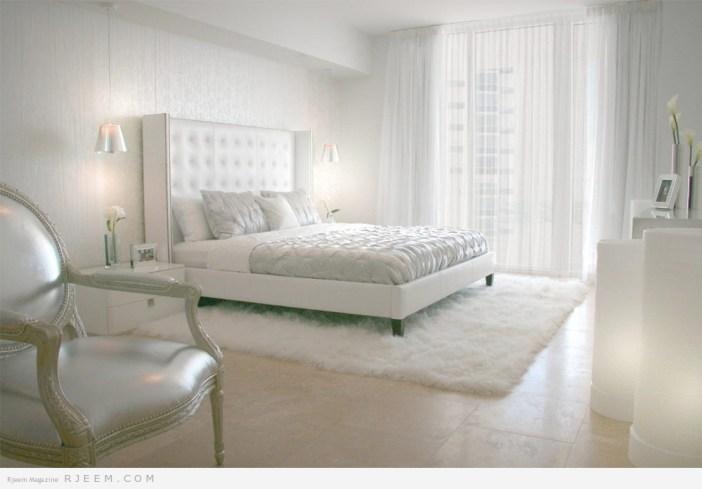 ديكورات غرف نوم بألوان الابيض