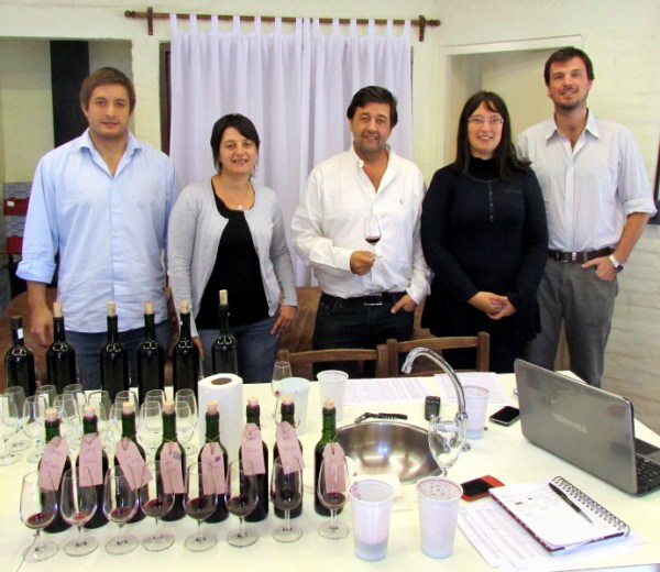 Juanicó tasting committee including Santiago Deicas left and Fernando Deicas middle