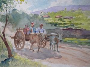 Bullock-cart-by-M-K-Kelkar(Wind in teh Jug)