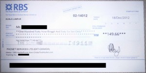 Global Test Market Cheque