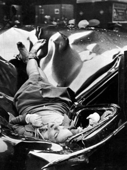 A most beautiful suicide - 23 year old Evelyn McHale  leapt to her death from an observation deck (83rd floor) of the Empire State Building, May 1, 1947.  She landed on a United Nations limousine…