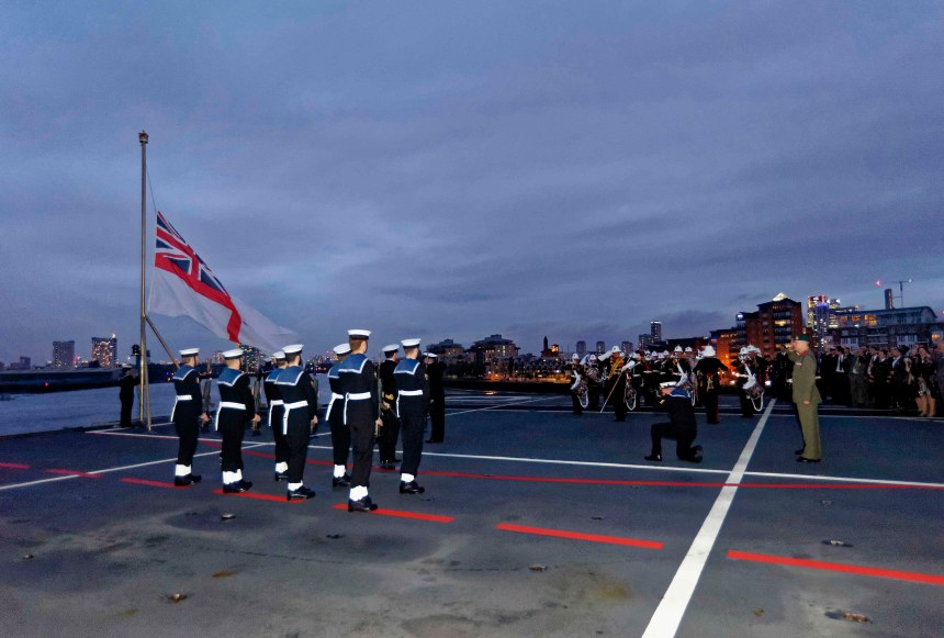 Sunset Ceremony On Board HMS Ocean at the Greenwich Royal Naval College