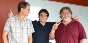 (left to right) Michael Abrash, Palmer Luckey, Gabe Newell