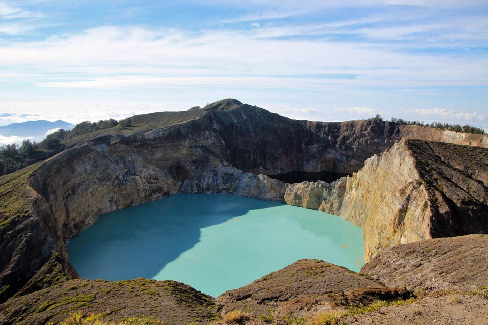 Kelimutu volcano coloured crater lakes, Flores Indonesia