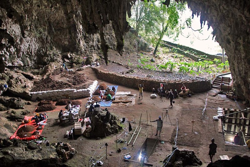 Archaeological excavations underway in Liang Bua hobbit cave
