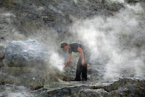 Dieng plateau sulphur vents, Java, Indonesia