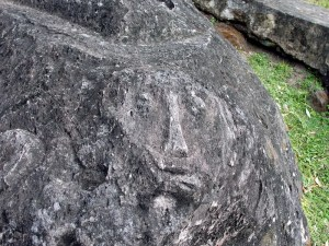 Face engraved into ancient megalith at Aik Renung