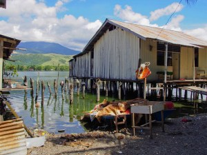 Typical stilted fisherman's house on Lake Sentani