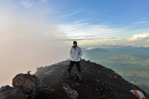 Above the clouds on the summit of Mt Kerinci volcano