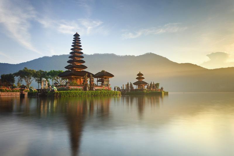 Iconic Pura Ulun Danu Bratan, Shivaite and water temple at Lake Bratan, Bali, Indonesia
