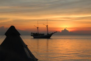 Camping on Sangeang Api Island, Lesser Sunda Islands, Indonesia