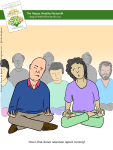 Cartoon: a supervisor asks an employee in the middle of a meditation session how that donor retention report is coming