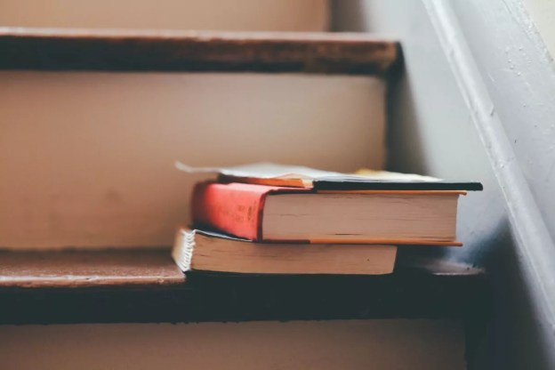 Photo of books on a staircase
