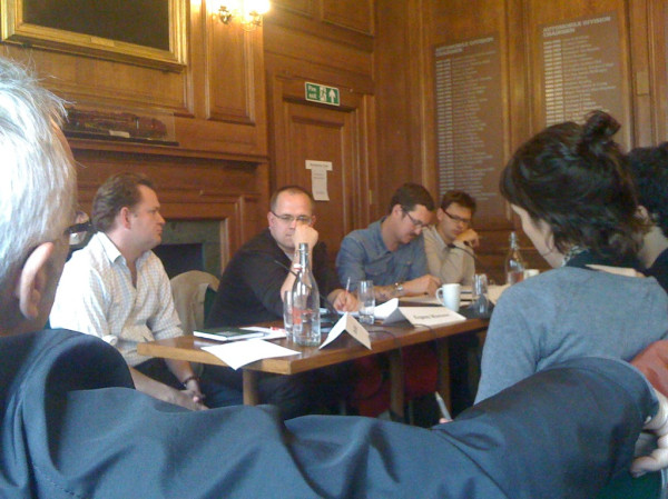 The panel at the Through A Web Darkly event.  Dan Hind, Evgeny Morozov, Ben Hammersley, Tom Chatfield