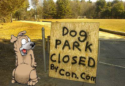 Sun Chronicle Photograph of the dog park; Satchel Pooch ('Get Fuzzy' Character by Darby Conley) added by the author who had WAYYY too much time on his hands.