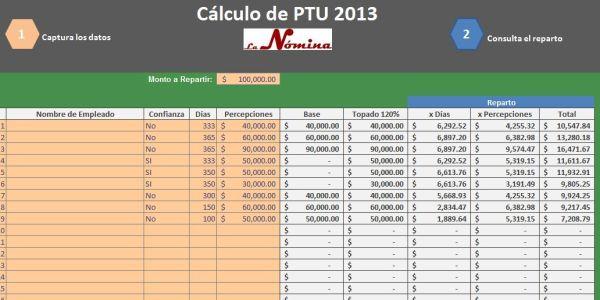 calculo de ptu 2013 en excel