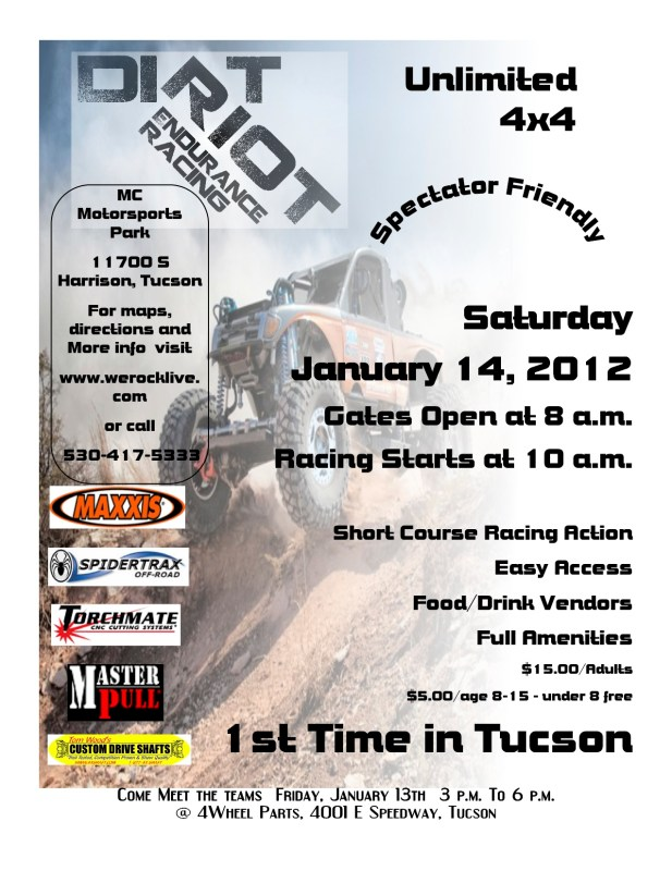Tucson.DR .flyer 1 617x800 Dirt Riot Kicks Off Event Series in Tucson Arizona  January 13 14 MC Motorsports Park