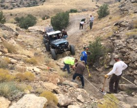 Trail repair being performed at the Tabeguache Connector via Rugged Ridge Trail Access Program grant