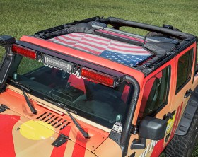 Rugged Ridge Eclipse Sun Shade- American Flag - Installed (High Res)