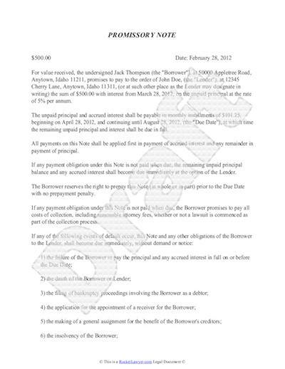 Promissory Note Template - Free Sample Promissory Note Format for Loan