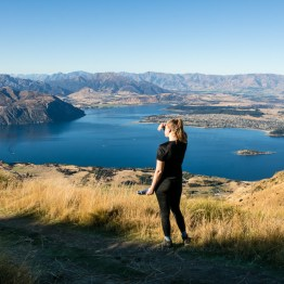 Frida Möller enjoying the view from the top of Roys peak.