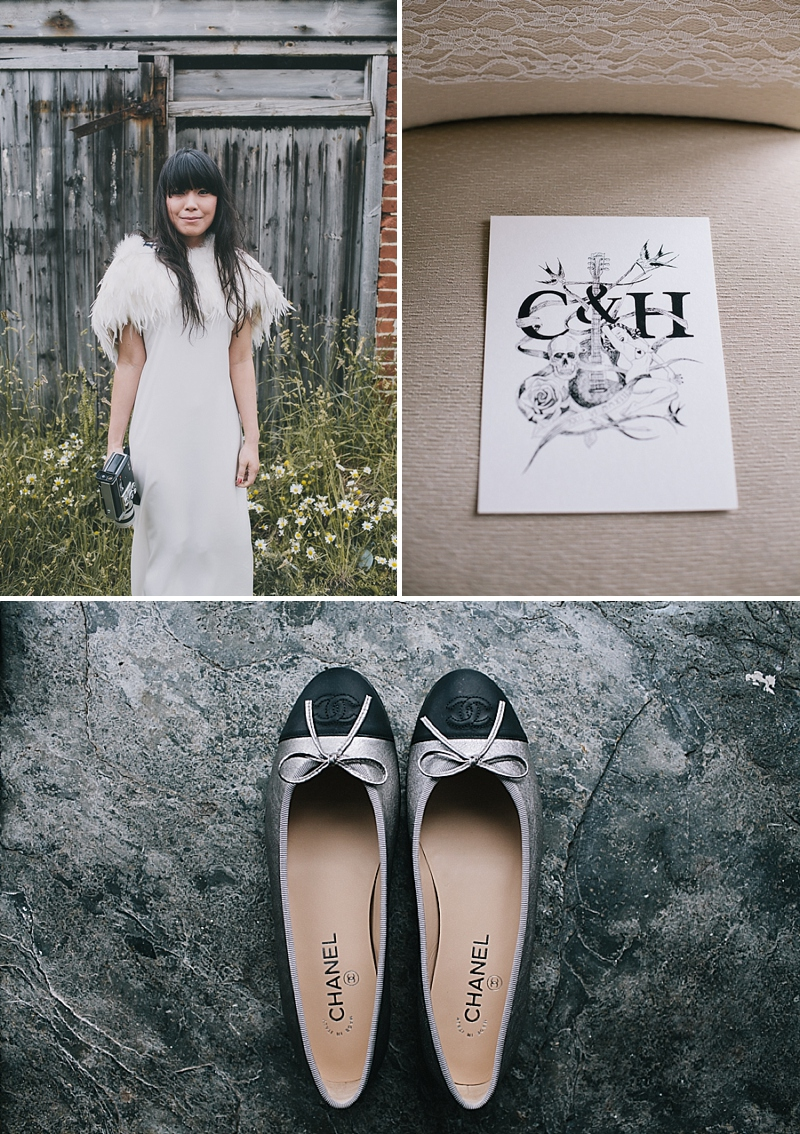 A stylish cornwall sornish wedding with a designer wedding dress by 3.1 Philip Lim 0437 High Tide.
