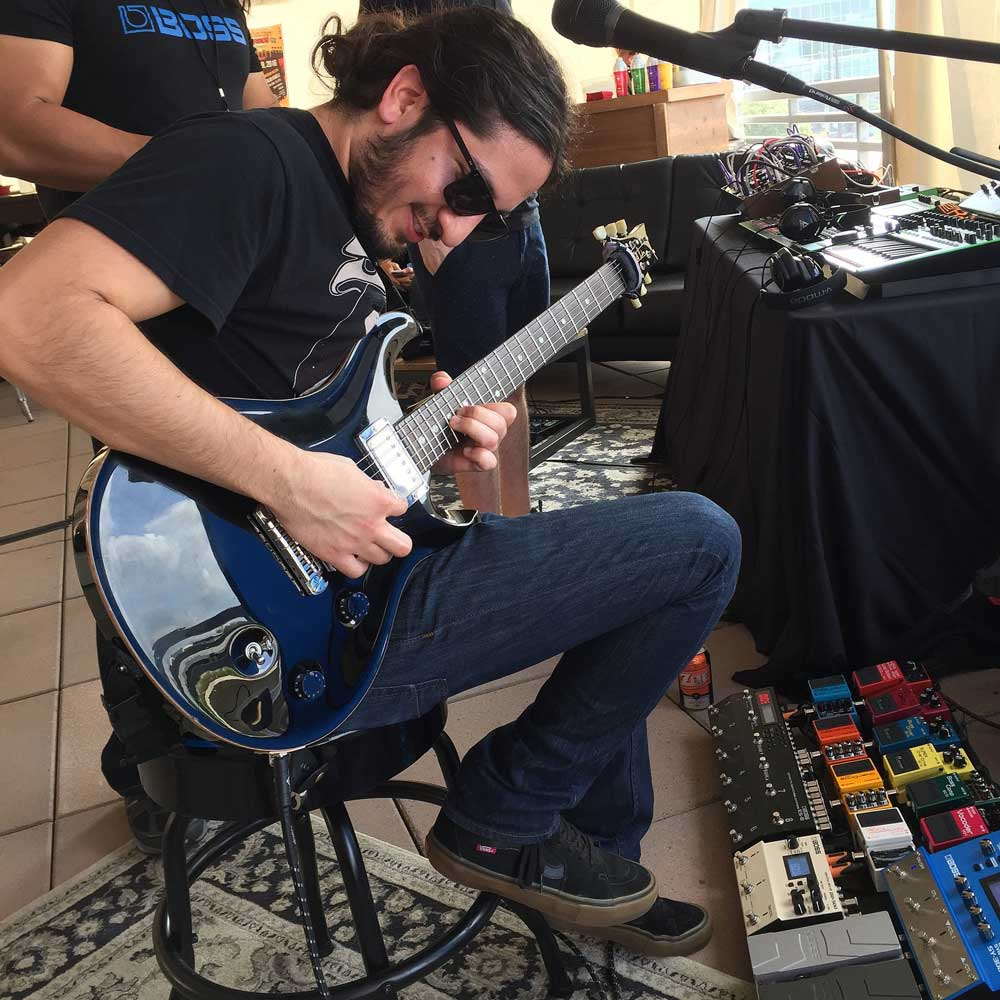 Visiting artists got to jam with a fully stocked BOSS pedalboard at Southwest Invasion