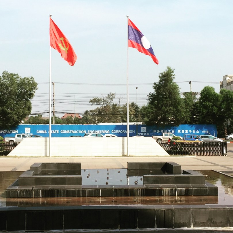 The Laotian flag was always seen together with the Marxist flag
