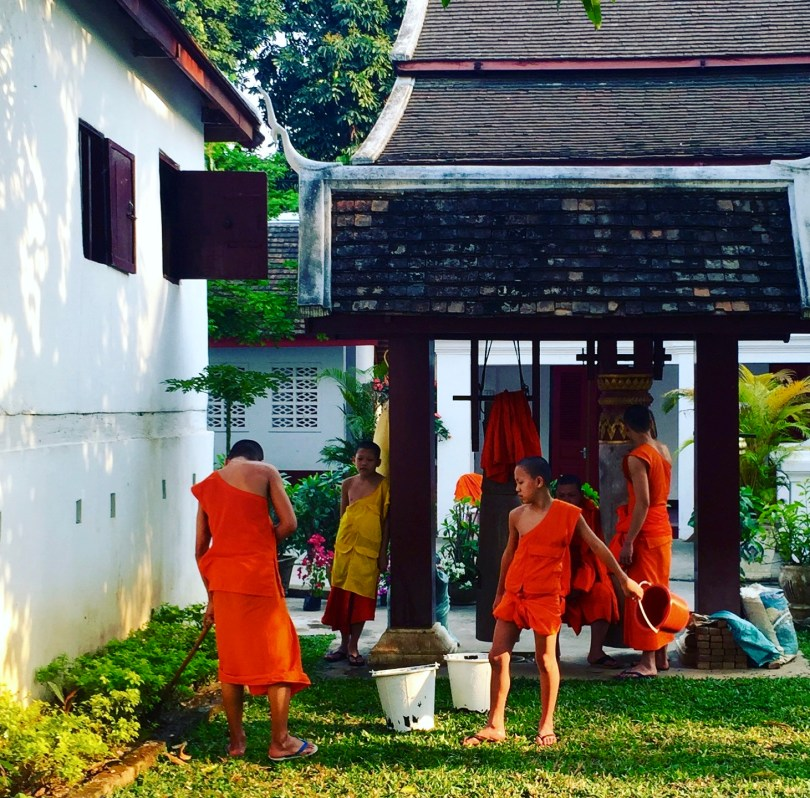 Bhuddist monks doing chores outside Wat Xiang Thong Temple