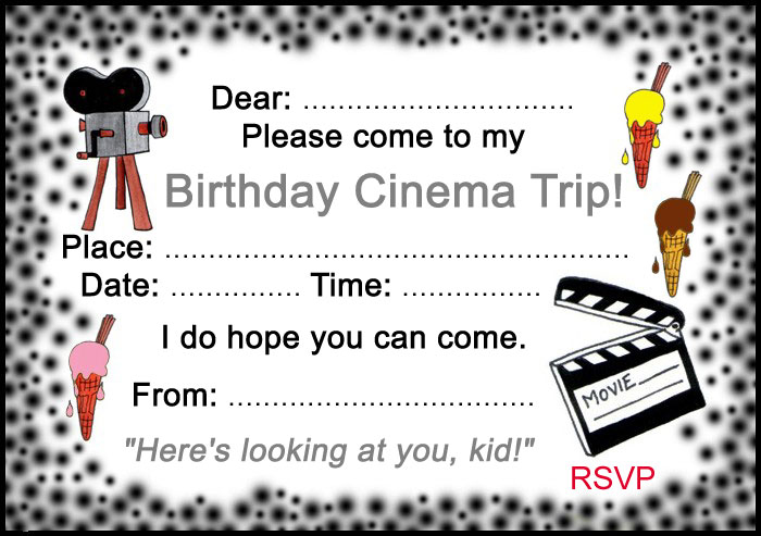 birthday cinema trip invitation