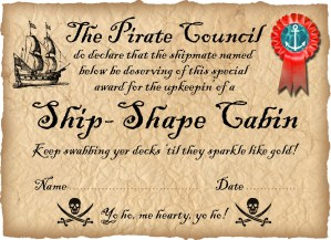 Pirate Certificate: Award for a Ship-Shape Cabin