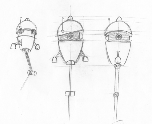 Sketches of another NPC robot. This will hold an information screen during gameplay.