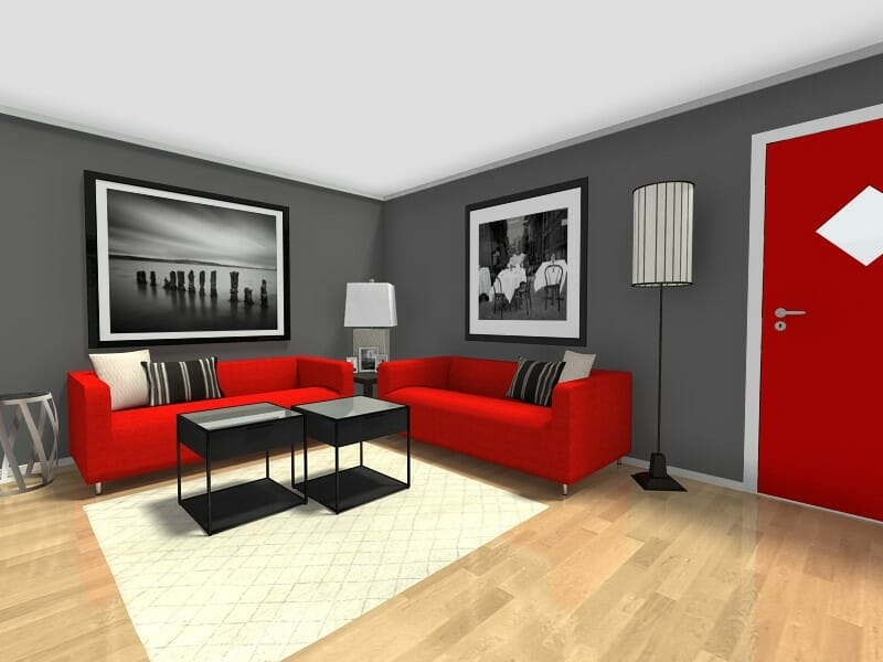 7 Small Room Ideas That Work Big   Roomsketcher Blog Small Room Ideas   Living Room Furniture Layout with Dark Grey Walls