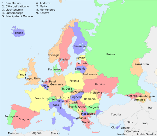 europa cartina