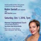 Announcing a concert of art songs, Oct 1, 2016