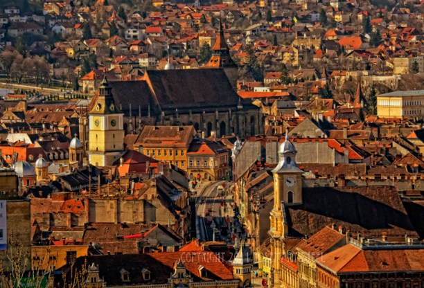 The citadel of Brasov, Romania with the Black Church