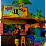 photo of USA: saturated colors of customers at a hamburger stand