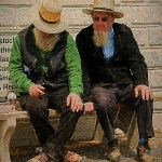 Amish farmers in conversation
