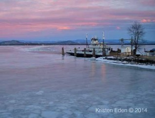 Essex-Charlotte ferry dock during late February sunset (Credit: Kristen Eden)