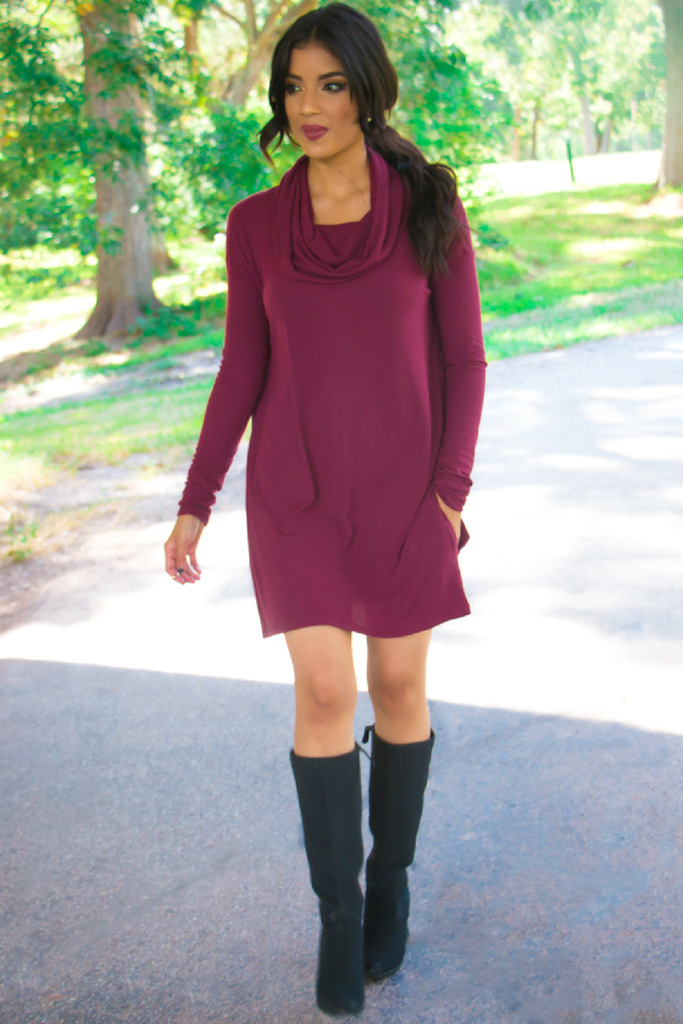 Burgundy Sweater Dress + Pattern Review - McCall's 7020