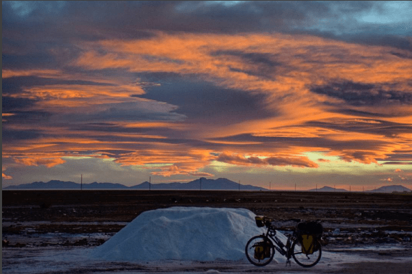 Sunset on the edge of the Salar