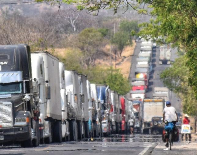 Trucks lined up in El Salvador