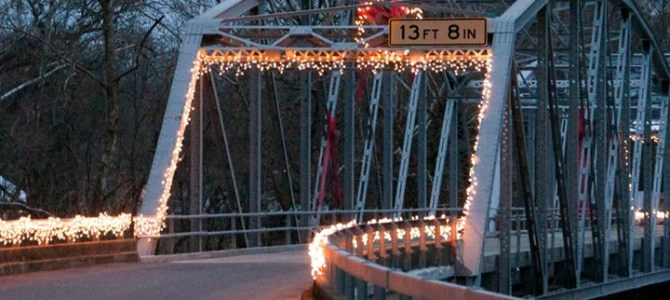Devil's Elbow Bridge decorated for Christmas