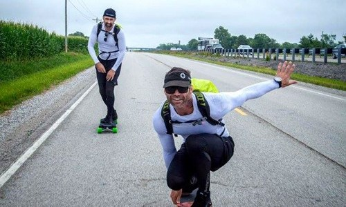 Man skateboarding Route 66 for foundation