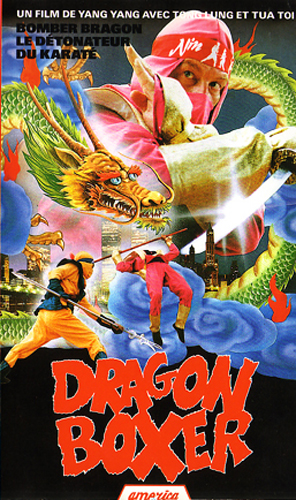 Dragon Boxer cover with ninjas and a dragon