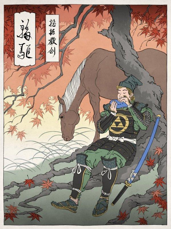 samurai link with ocarina by Jen Henry