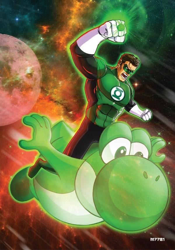 Green Lantern x Yoshi Mashup - comics, super mario bros, nintendo, fanart