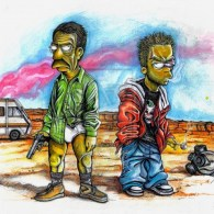 Breaking Bad x Simpsons Mashup Art - Ned Flanders and Bart Simpson as Walter White and Jesse Pinkman