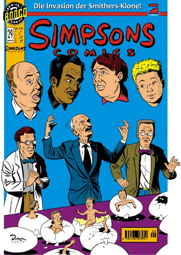 Realistic Reimagining of Simpsons Comics 29 Cover - Bart, Homer, Barney, Mr. Burns, Smithers, Apu, Professor Frink
